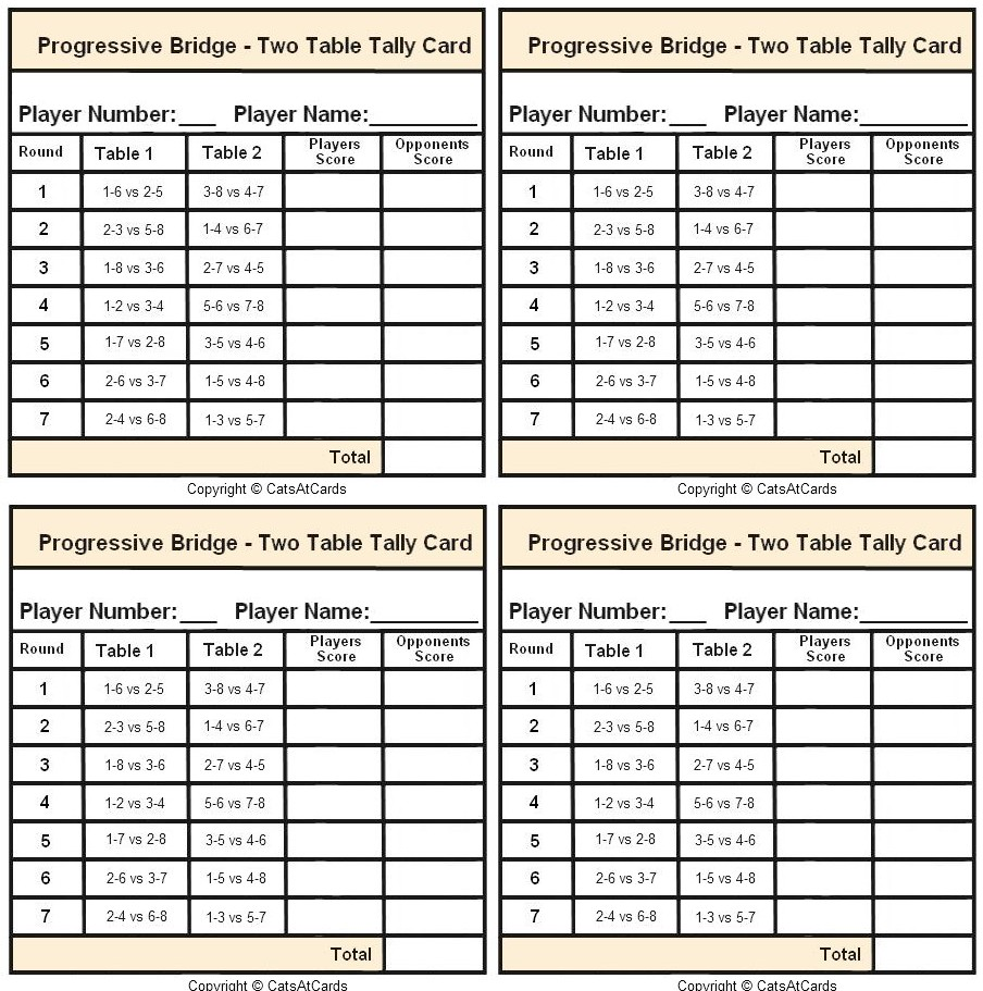 Mystery hand memory sheet print for Bridge tally template