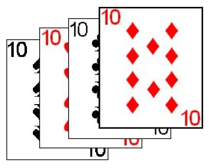 Some variations use quads without a fifth odd card