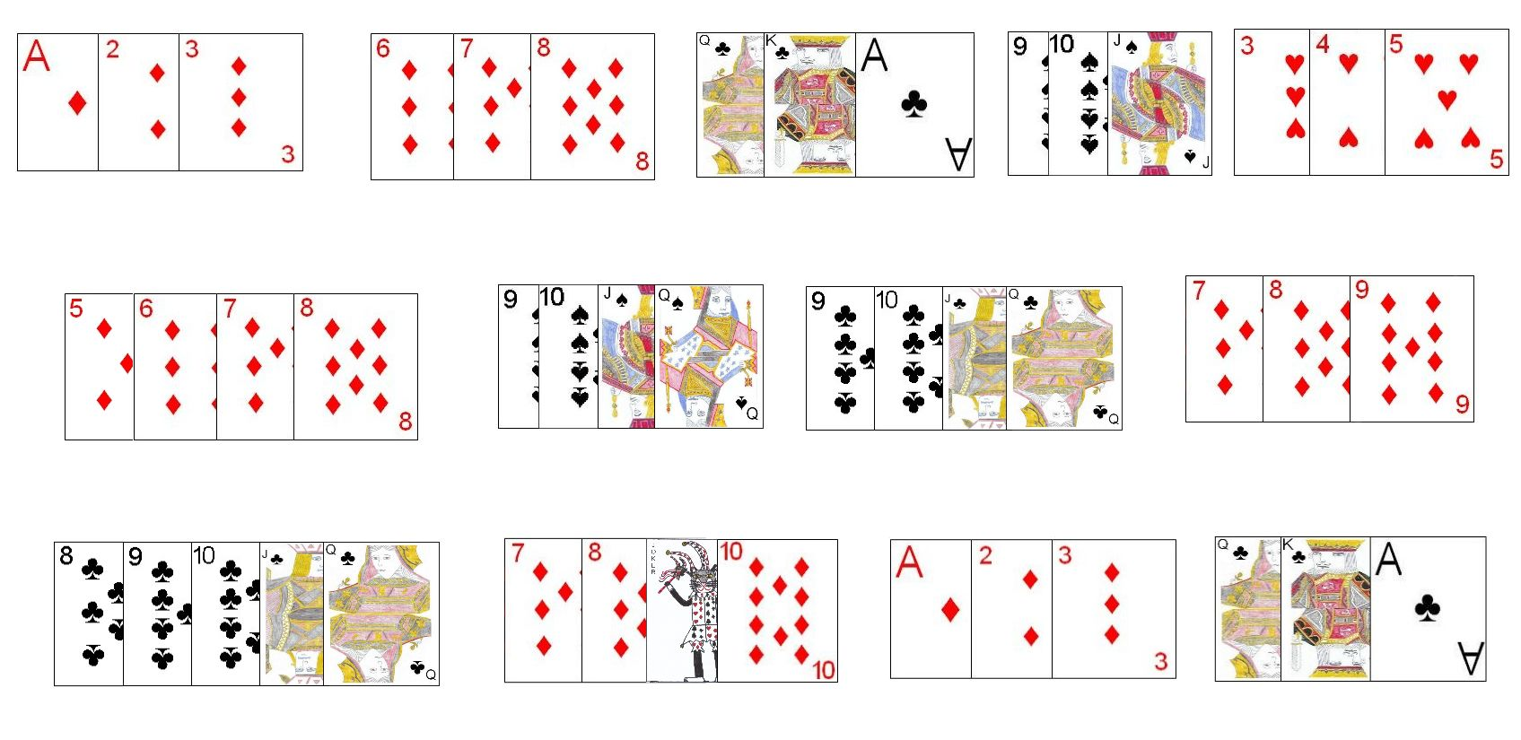 Allowable Meld Combinations in Continental Rummy