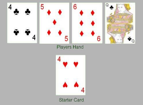 Cribbage hand scoring example
