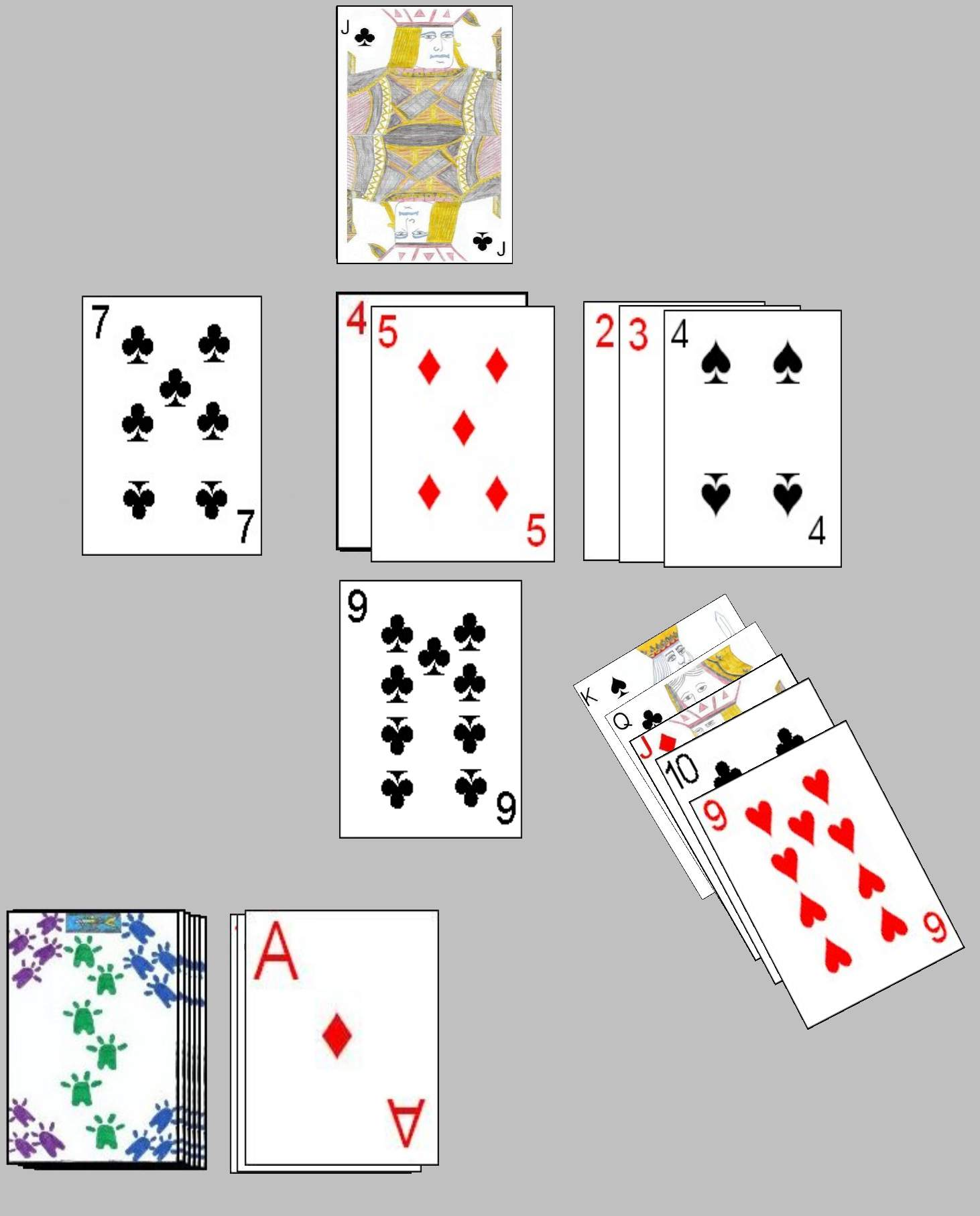 Kings Corner Solitaire possible game in progress