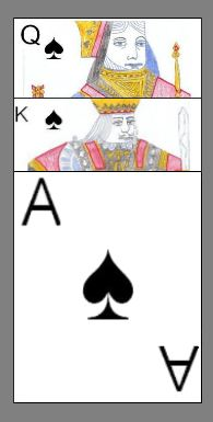 The three highest ranking cards in the game Spades