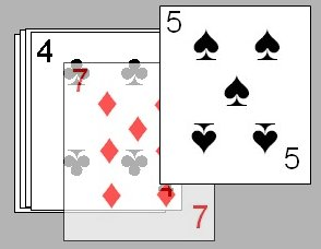 Transparent Sevens in the card game Palace